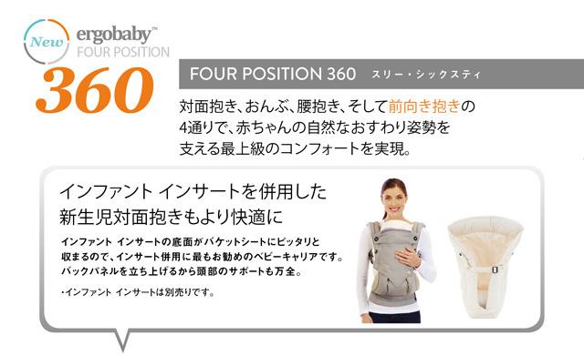 エルゴ 360 スリーシックスティは対面抱き、おんぶ、腰抱き、前向き抱きの4通りに抱き分けができます。