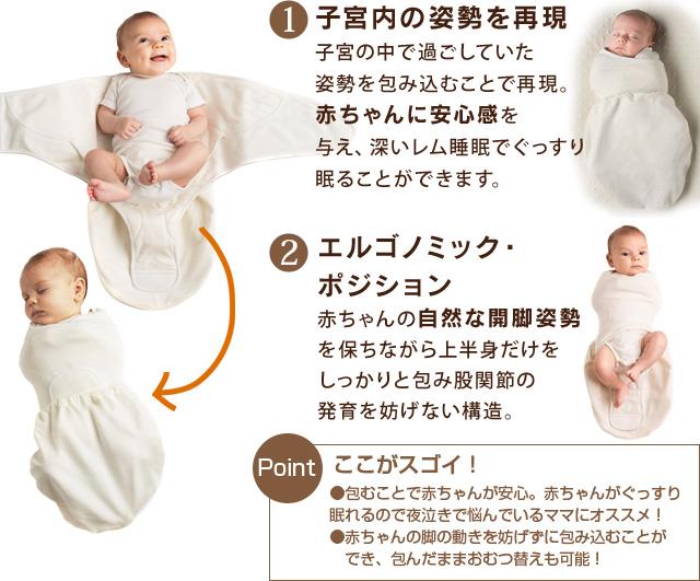 エルゴベビーのスワドラーはエルゴノミックポジションで赤ちゃんの発育に良い構造です
