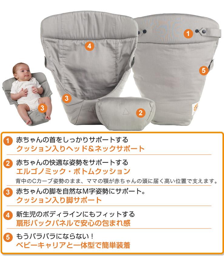 エルゴベビー インファントインサートIII ergo baby NEWインファントインサート3はエルゴノミックボトムクッションにより赤ちゃんに快適な姿勢をサポート