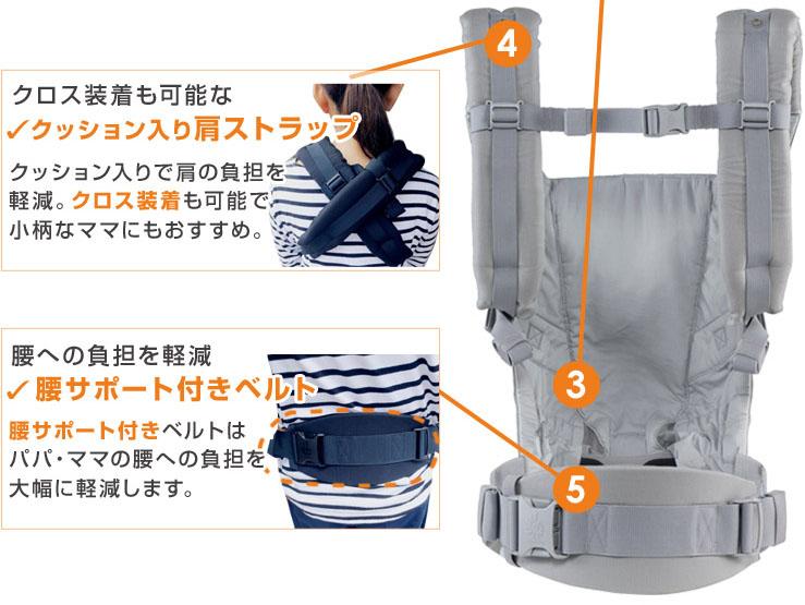 アダプトはクロス装着も可能。腰サポート付きベルトで腰への負担を大幅に軽減します。
